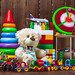 Different children's toys with a soft bear, cars, a plane, a train and a designer. Concept gifts, happy child