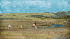 Le long de la rivière /Along the river (Des.Nam) Tags: personnes sable sand rivière people couleur texture textured 169 ciel desnam d800 200500f56 dunes paysage nordpasdecalais nikon nikond800 nikkor color analogefex hautsdefrance pasdecalais passage passants plage street streetphotography wonderfulword
