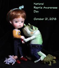 Celebrate! (bentwhisker) Tags: dolls bjd resin secretdoll mongvol3 anthro lizard chameleon reptiledoll lucas 2464 reptile