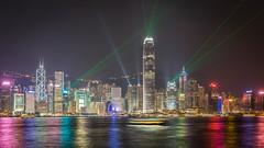 Hongkong symphony of lights (Philipp Salveter) Tags: china hongkong symphony lights show water harbour city asia skydcraper night boat stream