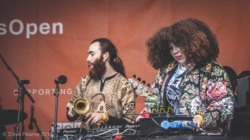 Female DJ in Trafalgar Square.