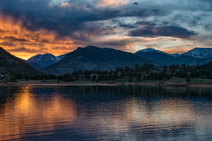 Ignites (RkyMtnGrl) Tags: landscape nature scenery sunrise daybreak morning clouds mountains lake reflections light colors soothing serene tranquil colorado maryslake 2018