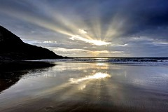 The Ghost of a  Smile (pauldunn52) Tags: beach witches point glamorgan heritage coast wales wet sand reflection southerndown dunraven
