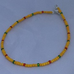 Yellow, Red, and Green Seed Bead Anklet by SilverSkyByJanet (janetdmorris) Tags: etsy crafts shopping yellow red green seed bead anklet by silverskybyjanet