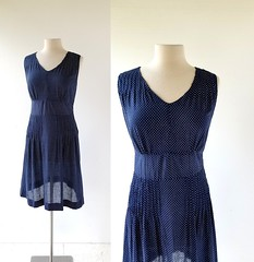 1920s swiss dot day dress (Small Earth Vintage) Tags: smallearthvintage vintageclothing vintagefashion dress 1920s 20s swissdot daydress navyblue dottedswiss