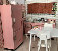 Ideal House - kitchen (Foxy Belle) Tags: pink cardboard kitchen 1960s mod tammy barbie ideal house 16 scale dollhouse graphics mid century miniature diorama scene playscale