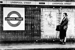 Liverpool Street Underground Station. Motion Blur. (parnas) Tags: london underground liverpoolstreetstation uk zwartwit blackandwhite blackwhite analoog film ilforddelta streetphotography