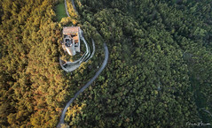 Road to Castle (nicolamariamietta) Tags: oltrepopavese italy hills woods castle medieval road colors autumn trees land landscape aerial drone dji phantom4pro altitude building daylight nature