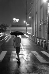 #278 Crossing (tokyobogue) Tags: tokyo japan ukimafunado 365project nikon nikond7100 d7100 35mmf18g blackandwhite blackwhite monochrome night rain road wet reflection umbrella