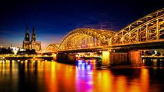Cologne cityscape (CHCaptures) Tags: church germany hohenzollernbrücke köln kölnerdom rhein a7iii bluehour bridge citylights citynight cologne colorful ilce7iii ilce7m3 lights night river sel24105g sony nordrheinwestfalen deutschland de