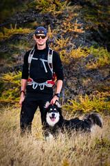 James ans Caesar (briangillett@nl.rogers.com4) Tags: man dog siberianhusky foresttrees hike