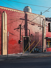(el zopilote) Tags: portland oregon cityscape architecture street signs storefronts powerlines red pentax 645 pentaxsmcpentaxa64575mmf28 mediumformat kodak ektar film 120