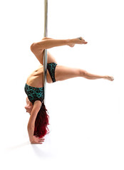 Mrs T (Colourjam) Tags: pole dancing woman high key white background