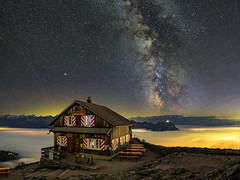 Grosser Mythen by night (lukas schlagenhauf) Tags: grossermythen seaoffog brunni switzerland swiss schweiz suisse mountains alps night nightscape creativcommons autumn fall clouds europe canoneos6d canon mythenregion lukasschlagenhauf milkyway stars milchstrasse astrophotography fog alptal galacticcore myswitzerland