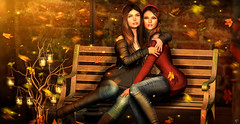 True friendship (meriluu17) Tags: autumn friendship friends leaves warm fall lights bench outdoor falling people sisi sisters couple portrait