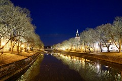 River (docwiththecamera) Tags: turku lamp tree river church town light night evening reflection
