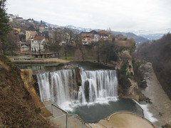 Pliva River waterfalls, Vrbas River below, Jajce, Bosnia and Herzegovina (Paul McClure DC) Tags: jajce bosniaandherzegovina balkans feb2017 architecture historic waterfall scenery pliva river vrbas