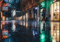Lights in Galleria Mazzini (FButzi) Tags: genova genoa liguria italy italia lights reflections galleria mazzini street rain green orange people