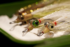 Fake Fishies (brucetopher) Tags: flickrfriday fake fishingfly flies fly lure imitation lookalike eye eyes green shine bokeh deerhair clouser minnow eel sandeel sandlance lance eels deceiver deceive deceit catch wounded redgill trick trickery fool eyeball weight weighted hook hooks shiny sparkle