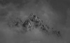 Grey Peaks (Frédéric Fossard) Tags: landscape sky nuage cloud mountain monochrome noiretblanc blackandwhite grain texture cimes crêtes arêtes mountainpeak alpes hautesavoie massifdumontblanc rocher aiguillesrocheuse aiguillesdutour brume mist fog mountainridge gris grey picdemontagne largescenery