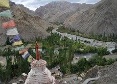 Stupa, a part of Wanla Monastery, overlooking the valley