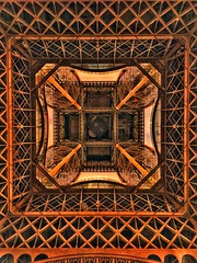 Paris France  -  Eiffel Tower - Parisian Landmark - Exposition of 1889 - Looking Up