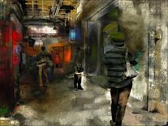 Destination (Bamboo Barnes - Artist.Com) Tags: osaka greytown cityscape station tsuruhashiosaka celling wall alley downtown red blur tan green photomanipulation painting photograph surreal bamboobarnes digitalart japan