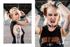Kitty (Laurène Zabary - Photographie) Tags: girl girls fille woman youngwoman blonde blond hair grimace rocknroll metalhead metal fashion model modele portrait portraits punk ink inked tattoo tattooed tattoos attractive attitude beauty beautiful pretty photoshoot photo photography
