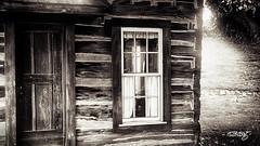 Log Cabin (dougkuony) Tags: hdr plattsmouth bw backlight blackandwhite cabin logcabin mono monochrome sepia window