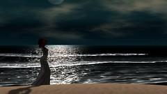 Moonlight madness (Myra Wildmist) Tags: secondlife sl myrawildmist virtualart virtualphotography virtualworlds ocean moon moonlight sea waves night gown beach