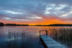October sunset (Arttu Uusitalo) Tags: autumn fall october evening sunset twilight dusk northern ostrobothnia finland lakescape lakeshore pier reeds landscape nikon d7000 2015 icy lake orange sky clouds