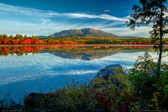 Mount Katahdin, Maine (Greg from Maine) Tags: mountkatahdin mtkatahdin compasspond lilypads sunrise maine clouds baxterstatepark pond lake water reflection autumn foliage fallseason piscataquiscounty landscape nature rocks boulders shore lakeside goldenroad shoreside