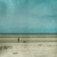 Running with dog !!! (Des.Nam) Tags: plage mer merdunord chien personne people ciel cielnuageux bleu blue fuji fujinon fujixpro2 35mmf14 desnam xpro2 xpro2square xprostreet street streetphotographie eau sable sand texture textured rayures analogefex