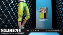 EXMACHINA RUNNER CAPRI AD (Ramses Meredith) Tags: exmachina egoisme ramses meredith bento animations avatars full body leggings shorts gym mesh capri modern models fashion