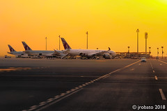 Golden Sky (orgazmo) Tags: landscapes goldenhour doha qatar hamadinternationalairport airports planes sky outdoors samsung note8
