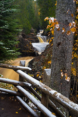 Cascades 20181012-DSC00657 (Prairieworks Pictures) Tags: cascaderiver cascaderiverstatepark falls lakesuperior minnesota northshore river zeiss a7r2 autumn fall fe5518sonnar fence green longexposure sony timeexposure trees water waterfalls