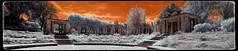 Jardins de Joan Maragall (Ar@lee) Tags: barcelona catalunya photographyinfrared fotografíainfrarroja fullspectrum espectrocompleto trees clouds cielo bordeparafotos filtre720nm ir nikond7000 sky nubes naturaleza orange panorámica paisatges arquitectura red rojo palauetalbeniz montjuïc