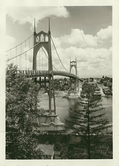 Copyright by Mankind: The St Johns Bridge (Eclectic Jack) Tags: johns saint old black white oregon portland willamette tree trees sky clouds stjohns saintjohns sos smileonsaturday smile saturday iconic icon copyrightbymankind copyright mankind man beautiful