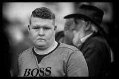 Boss man (Frank Fullard) Tags: frankfullard fullard candid street portrait boss ballinasloe fair monochrome face expression galway irish ireland black white blanc noir