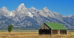 Mormon Row - Log Cabin (Suzanham) Tags: antelopeflats mormonrow shed barn grandtetonnationalpark wyoming jacksonhole building logcabin mountain homestead valley