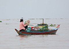 Woman selling food on boat in the floating village on Tonle Sap lake, Siem Reap Province, Chong Kneas, Cambodia (Eric Lafforgue) Tags: agriculture architecture asia business cambodia chongkneas colourimage copyspace day decay floatingonwater food horizontal house indochina lake market nauticalvessel occupation oneadultonly oneperson onewomanonly outdoors people photography poverty ruralscene sale selling southeastasia tonlesap trading tranquility transportation travel traveldestinations vendor village water woman women camboimg0063 siemreapprovince