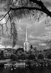 Framed By Nature (WorcesterBarry) Tags: blackwhite bnw blackandwhite shadows sky oldchurchspire places photographers outdoors old monochrome lovebw landscape light lines riversevern swans clouds trees water buildings nature england urban