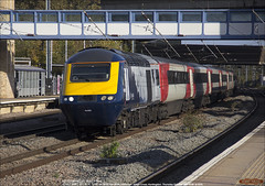 Scotrail 43163 leads 1E03 south through Huntingdon, October 18th 2018 a (Bristol RE) Tags: 43163 hst scotrail 1e03 eastcoast lner 43 class43 253 class253 huntingdon 45201