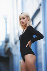 Isabella - Street Style (Rob Harris Photography) Tags: artistic attitude beautiful beauty babe blonde creative contrast colour chic curves cute dramatic girl gorgeous glamour goddess female fashion feminine figure form model modelling portrait pretty photoshoot woman naturallight naturalbeauty urban street bodysuit expressive black blue grunge alleyway