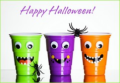Halloween Colour (Karen_Chappell) Tags: halloween holiday white green orange purple stilllife cups cup spider face cute product three 3 multicoloured colourful colours colour color eyes smile monster