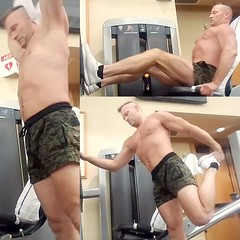 leg press (ddman_70) Tags: shirtless pecs abs muscle shortshorts gym workout legtraining
