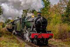 Steam power (Peter Leigh50) Tags: great gcr gala central railway autumn autume steam locomotive railroad rail train trees track fujifilm fuji xt2 9f 92214 witherslack hall 6990 double headed