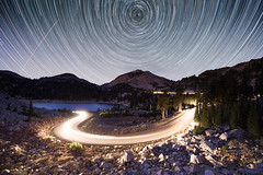 From Eden (kern.justin) Tags: california lassen peak mountain volcano sierra cascade night sky startrails stars polaris north star snow long exposure lake road trails headlights rocks trees beauty inspiration poetry national park nps