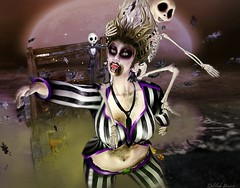 Day-o (delilahhannu) Tags: irrisistible swank virtual secondlife avatar roleplay blogging beetlejuice halloween creepy movie women men sl second life skin hairs costume fancy horror stripes outfit clothes eyes shoes rotten moss monster dead maitreya belleza slink hourglass tonic aesthetic signature omega appliers mesh autumn make up gothic
