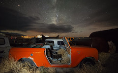 Star Scout (magnetic_red) Tags: sky night stars milkyway clouds nevada rachel littlealeinn internationalharvester scout decay junk orange tumbleweeds